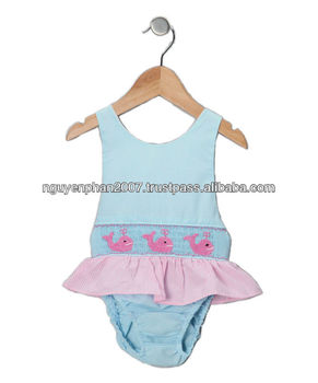 43b118450a6a7 Blue Smocked Whale Baby Girls Swimsuit - One Piece - Buy Baby ...