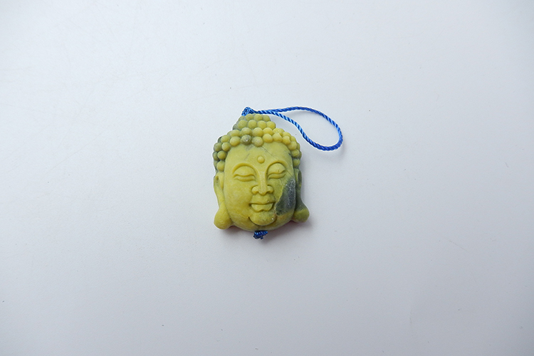 Excellent Design Carved Buddha Natural Stone Serpentine Necklace Pendant 31x25x14mm 9.9g