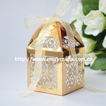 Decorative Paper Bo For Sweets Gold Party Favors Gift Box Personalised Wedding Favours