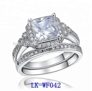 Latest Designs 18K White Gold Filled Fashion 925 Silver Ring Jewelry CZ Engagement Wedding Rings Set for Women