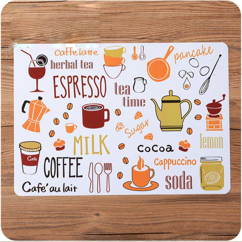 Kitchen Printed Dining Table Plastic Mat Non-Slip Waterproof Custom Decorative Table Mat PP Place mats