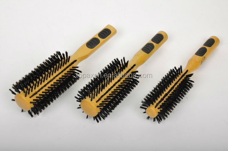 Wood material Massage Brush,100% excellent natural bristle hairbrush