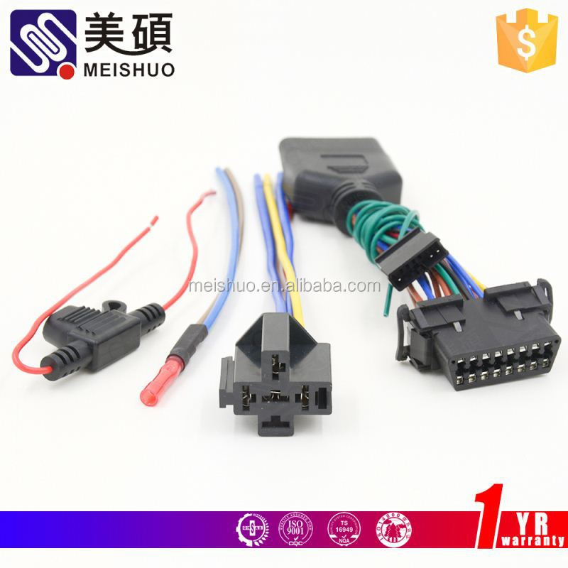 Meishuo car radio 16 pin iso wiring harness