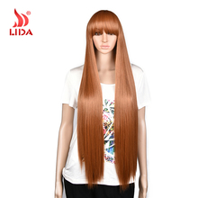 Lida Long silk straight 100% Japan futura fiber Synthetic Wigs cosplay street fashion wig for black girls