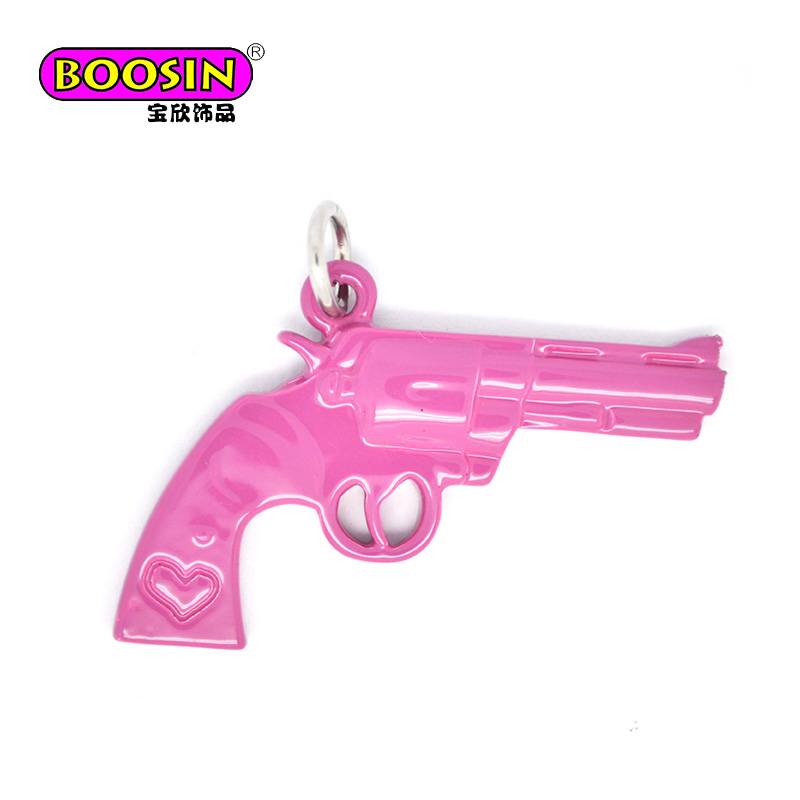 Fashion Alloy Material Rose Red Enamel Charm Jewelry Gun Charm Pendant