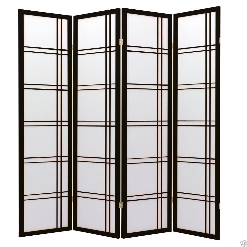 1PerfectChoice 4 Folding Panels Wood Shoji Room Divider Screen Oriental Traditional Line Option Color Black