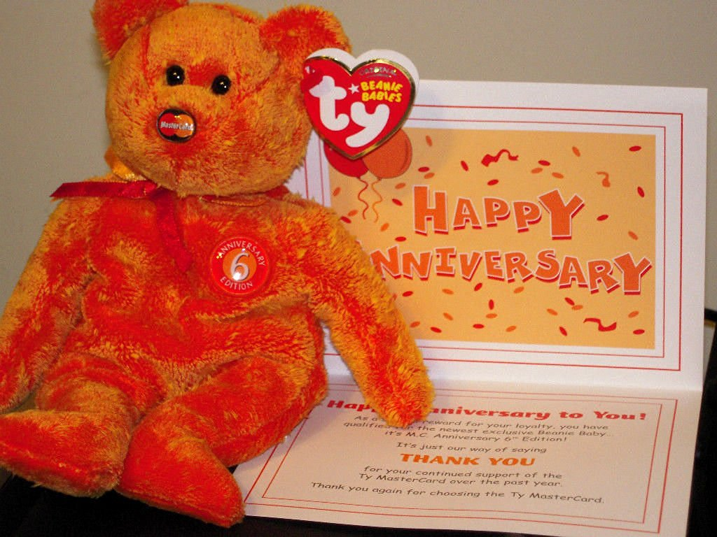 8b584049a53 Get Quotations · (Ship from USA) Ty Beanie Baby ~ MC ANNIVERSARY  6 6th  Edition Mastercard