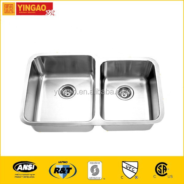 Best quality stainless steel trough sink, double sink vanity top