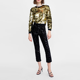 The Fashion Long Sleeve Golden Sequin Knitted Sweatshirt Women