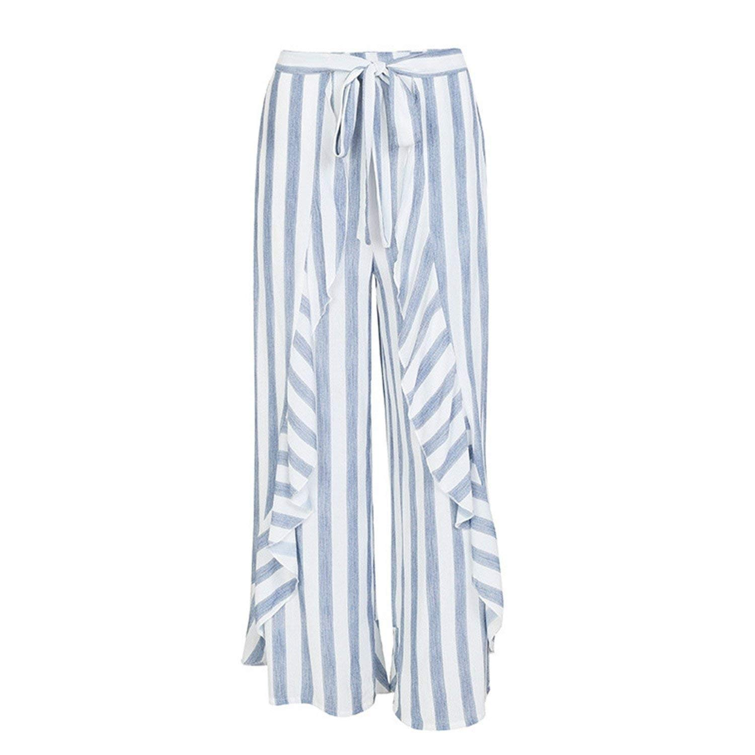 77ee768e01e Get Quotations · Dorathywatm Stripe Split Wide Leg Pants Women Bottom Sash  Ruffle High Waist Trousers Summer Beach Casual