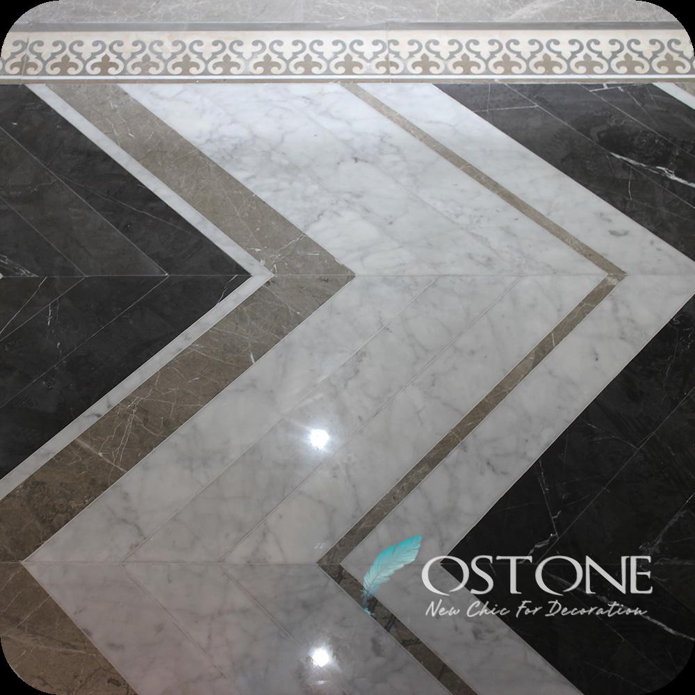 Water Jet Classic Pattern Herringbone Marble Tile For Floor Decor ...