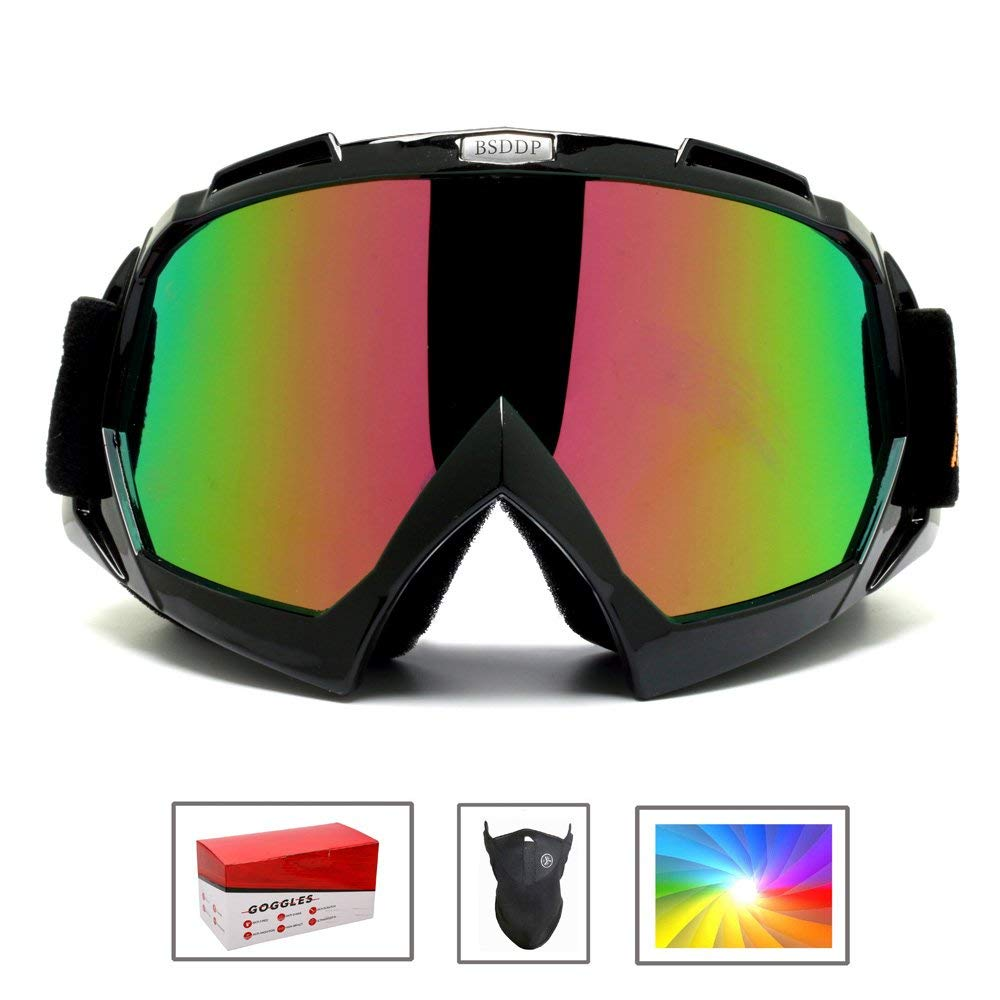 Feier Yusi Ski Snowboard Motorcycle Goggles for Men Women Youth,Outdoor Tactical Glasses with Colorful-Lens UV 400 Protection Anti Fog & Dust, Fit for Skiing Motorcycling - with Box & Mask