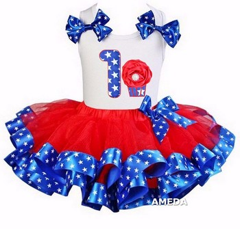 Girls Red Blue Star Satin Trimmed Tutu with 1st Rosette Cupcake White Tank Top
