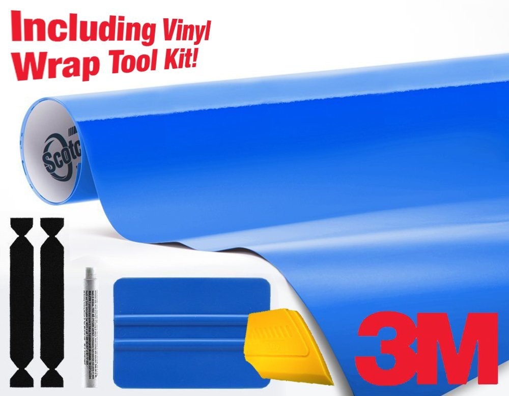 3M 1080 Gloss Intense Blue Air-Release Vinyl Wrap Roll Including Toolkit (2ft x 5ft)