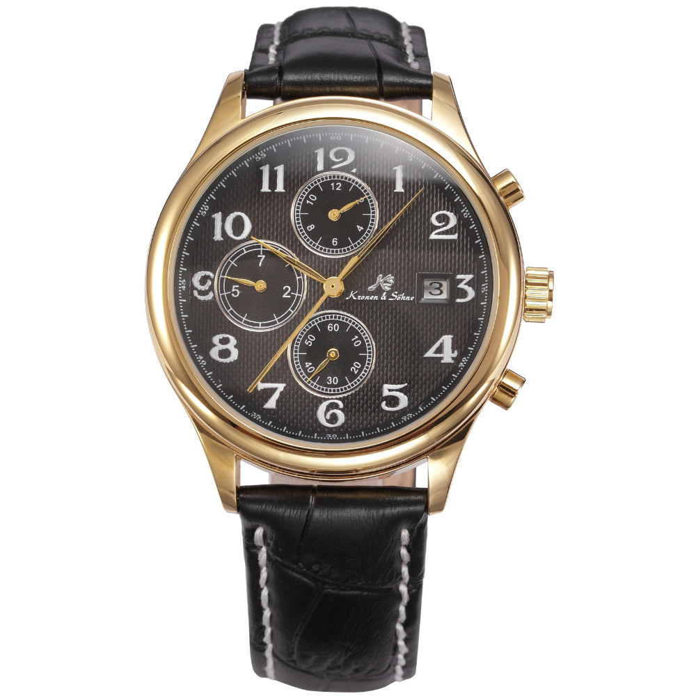 KS Black Gold Steel Automatic Mechanical Day Date 24Hr Leather Men's Wrist Watch