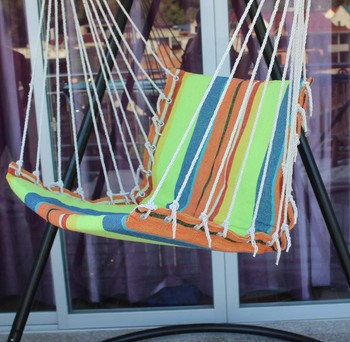 Nice Padded Cotton Rope Hanging Hammock Swing Chair With Arm Rest