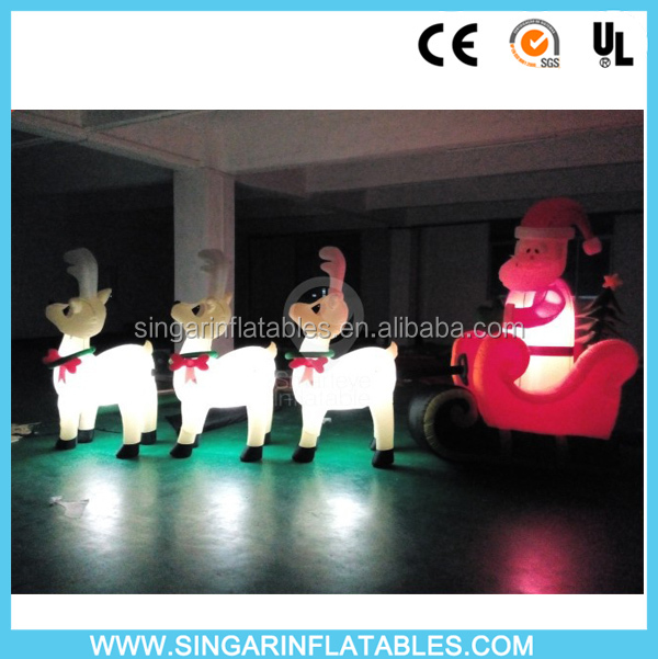 Outdoor led lighted inflatable Santa with sleigh and reindeer, Santa Claus in dear cart decorations