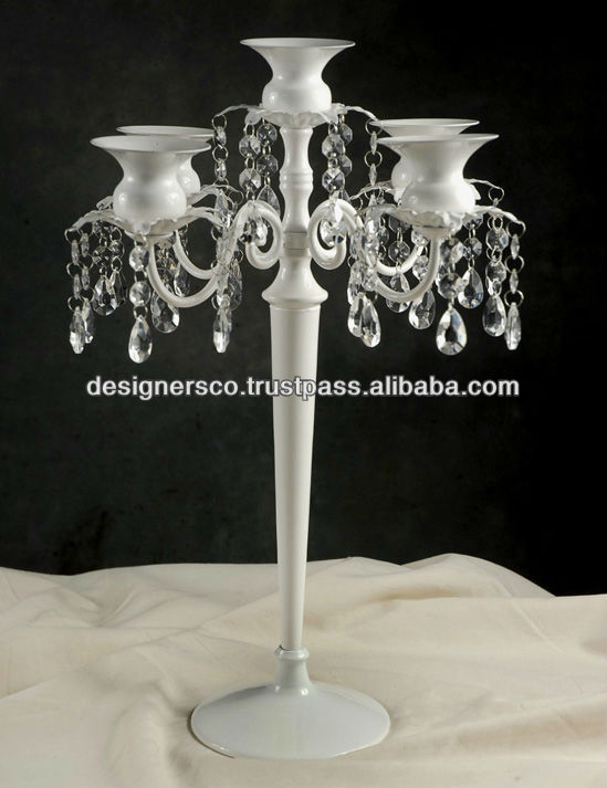 Glossy White Wedding 5 Light Candelabra with Crystals