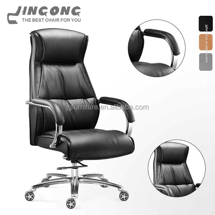 Factory supplier leather office chair high end office furniture black high back leather manager office chair