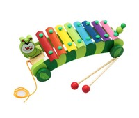 8 violin piano knock Toys Cute Rainbow Wooden Animal Xylophone Pull Car Toys For Kids