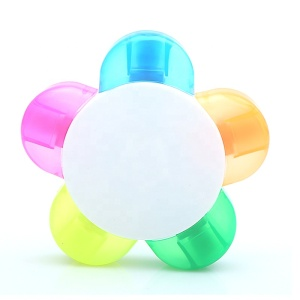 Sunflower shape plastic highlighter pen of 5 in 1 color for office and school promotional
