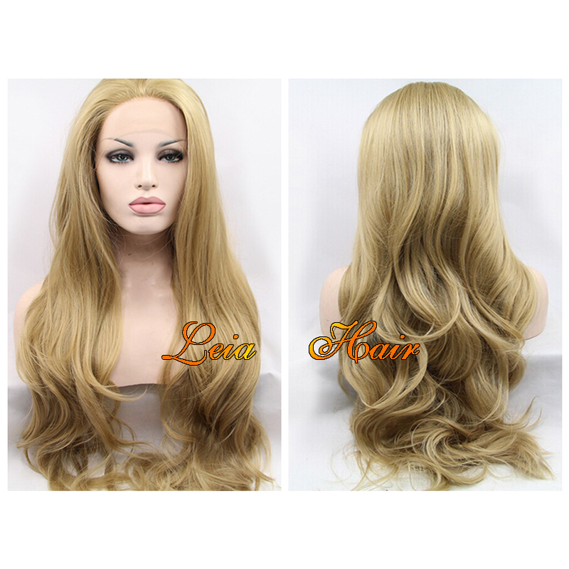 Blonde Wig Heat Resistant Wavy Hair Synthetic Lace Front Wig Kanekalon Glueless Blonde Lace Front Wavy Wigs 24/26'' For Sale