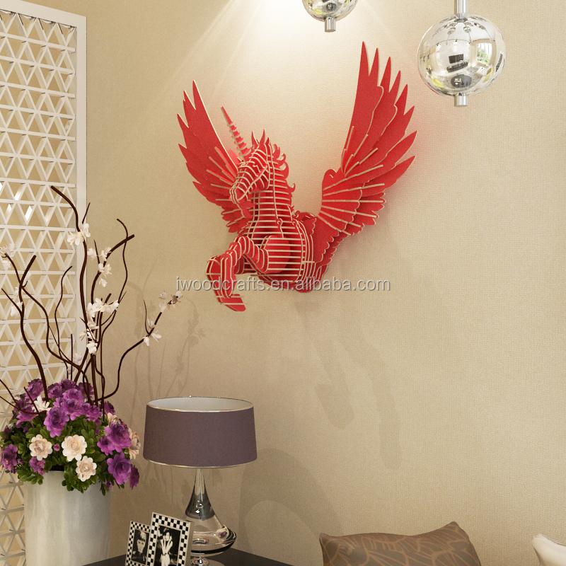 Flying Unicorn Guangzhou wood wall decor wall art crafts, View ...