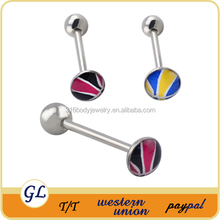 Stainless steel with inlayed picture insert unique tongue ring