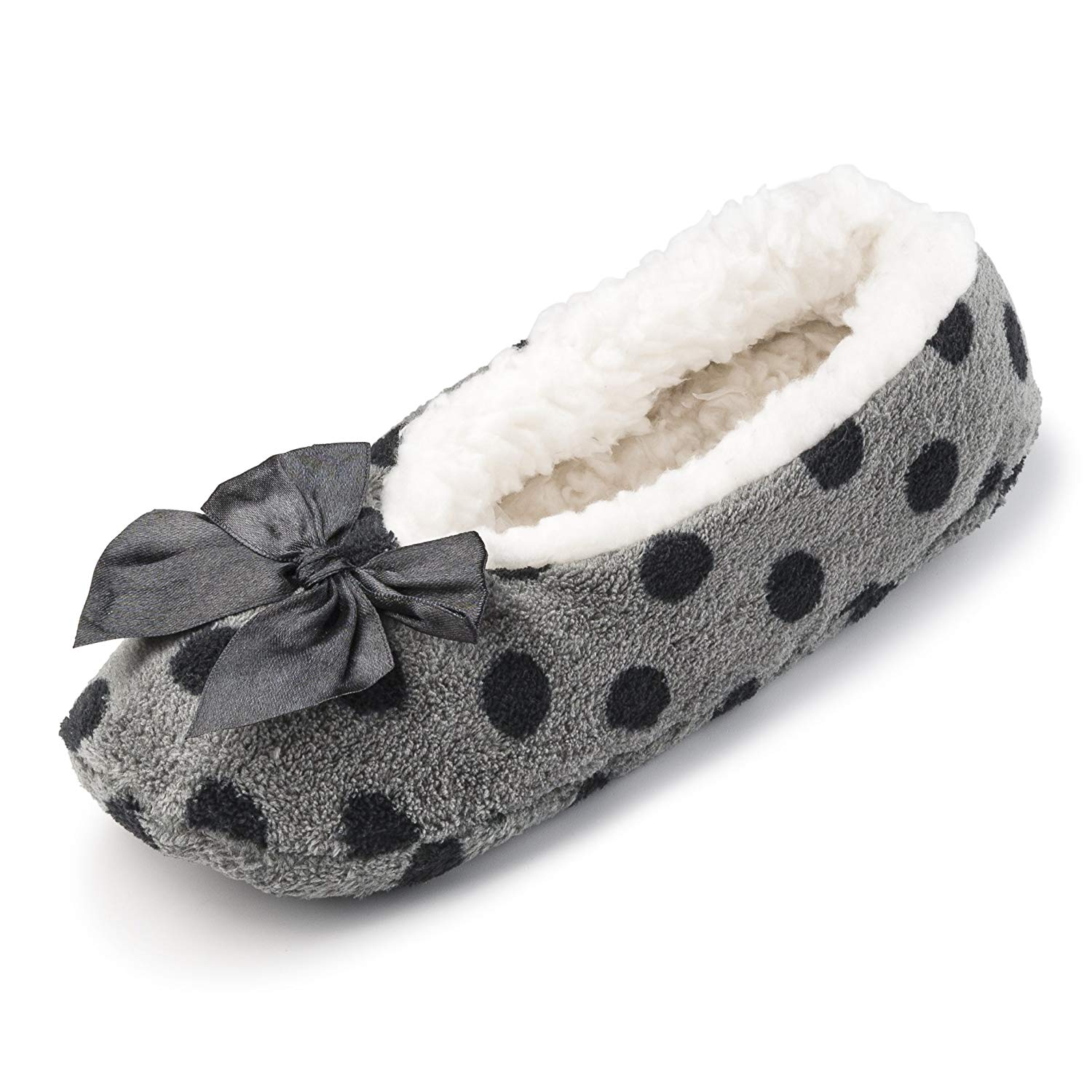 b3345297c17d Get Quotations · Fuzzy Fleece House Slippers for Women w/Sherpa Lining |  Comfortable Ballerina Indoor Shoes