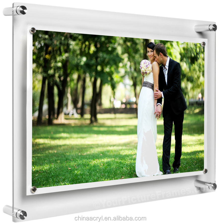 China supplier clear wall mounted custom acrylic floating frames for wholesale