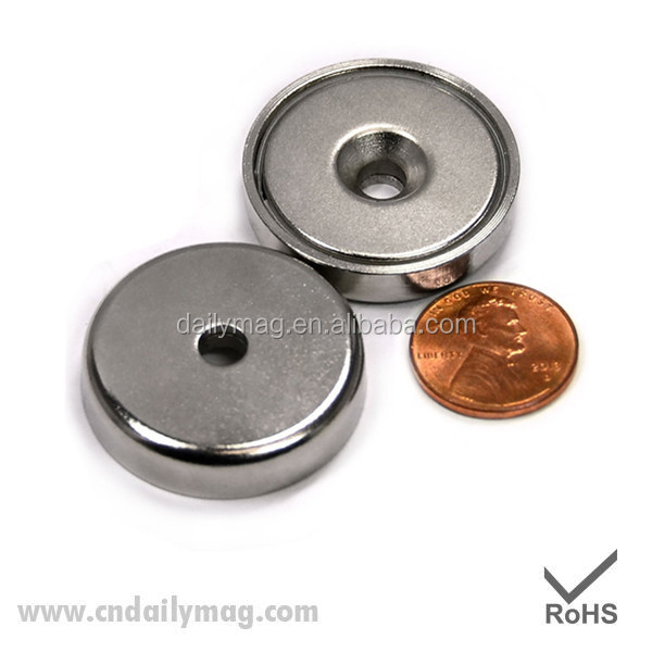 "Neodymium Round Base Magnet w/Countersunk Hole for#10 Bolt - 70 LBS PULL 1.26"" in Dia 2 Ct"