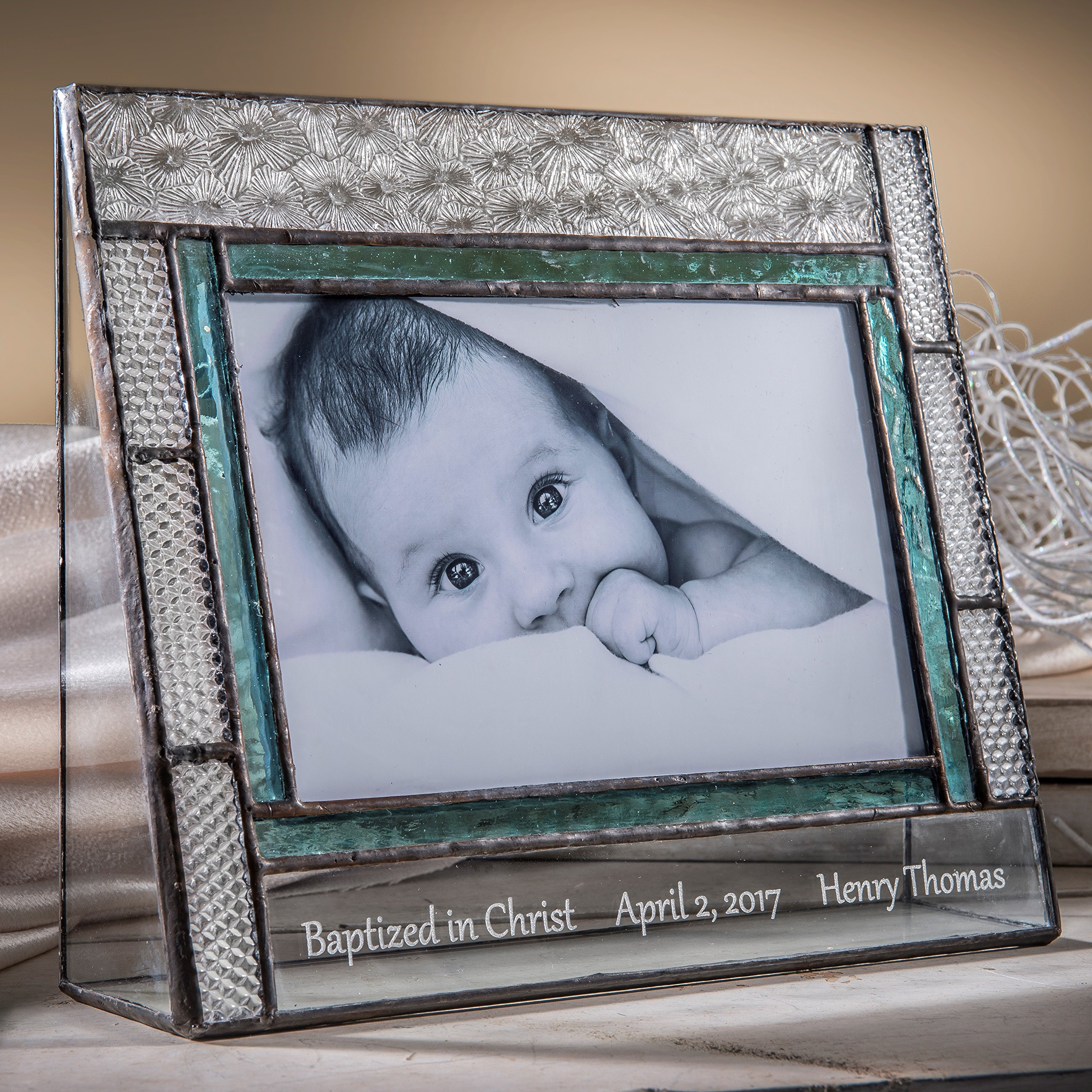 J Devlin Pic 382-46H EP584 Personalized Baptism Picture Frame Engraved Glass 4x6 Horizontal Photo Keepsake Gift