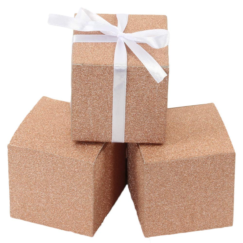Andaz Press Real Glitter Gift Favor Boxes Rose Gold in Bulk 50-Pack Count, Party Favor Gift Boxes for Wedding Favors, Birthday, Baby Shower, Graduation, Baptism (Rose Gold Glitter 3 inch Box)