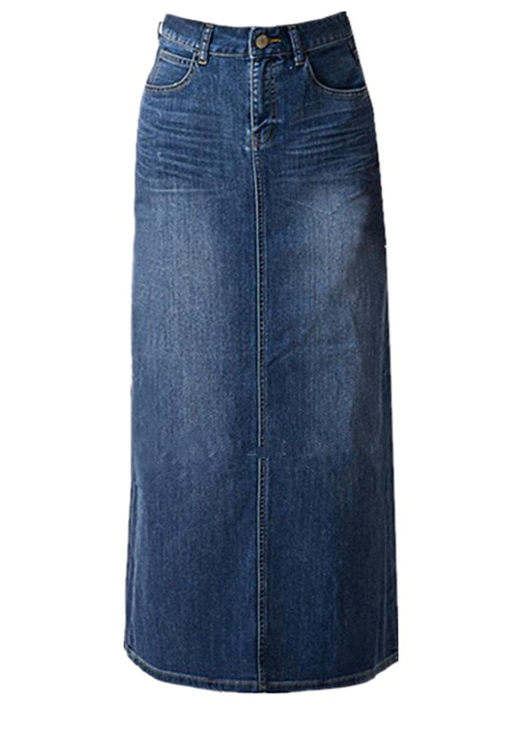 f2d636c3c7f Get Quotations · Women s Maxi Pencil Jean Skirt- High Waisted A-Line Long  Denim Skirts For Ladies
