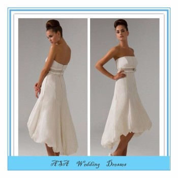 Satin Front Short Long Back Bridal Dress Tea Length Bridal Gowns ...