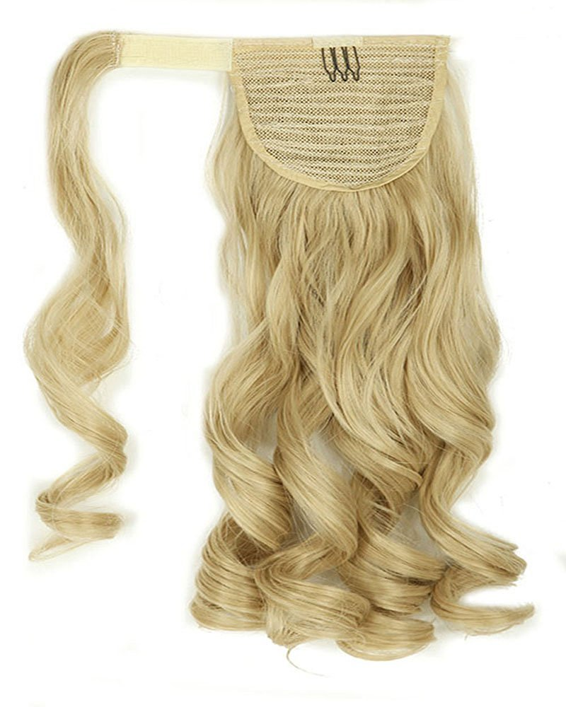 """S-noilite Many Colors 17 23 Inches Straight Curly Wavy Wrap Around on Ponytail Clip in Hair Extensions Hairpiece Pony Tail (23""""-straight, Dark Blonde Mix Bleach Blonde)"""
