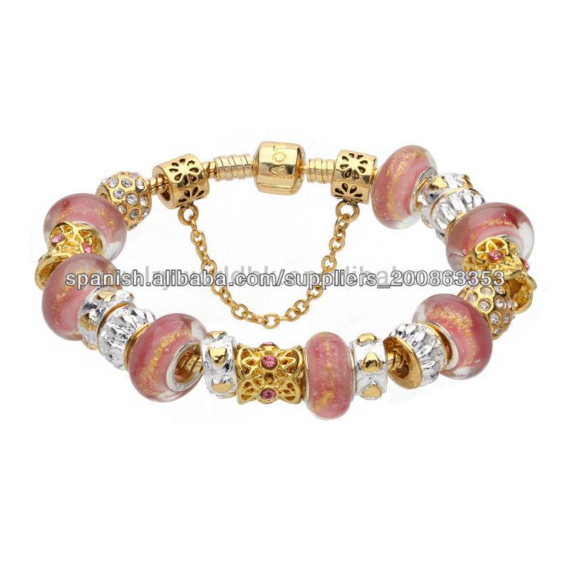 96d1faaac303 Rosa de cristal cuentas de oro pulsera plateada murano para mujeres jóvenes