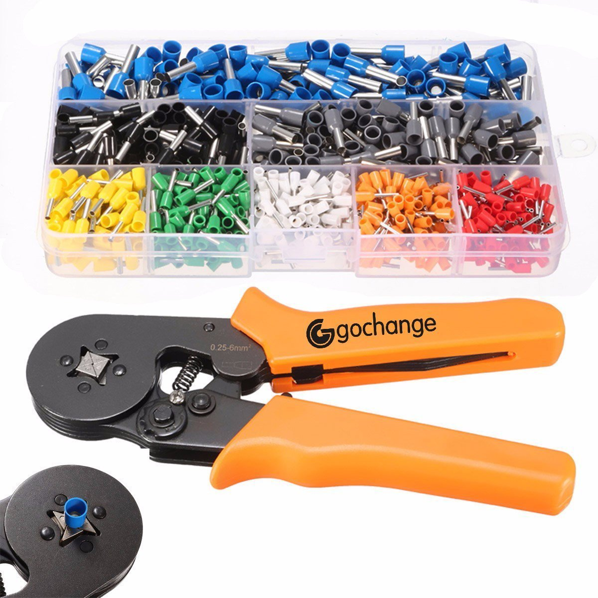 Crimp Tool Kit, GOCHANGE Quadrilateral Crimper Plier Wire Terminal and Connection Kit with 0.25-6.0mm² Ferrule Crimper Plier/Wire Stripper & 800 x Connectors Terminal