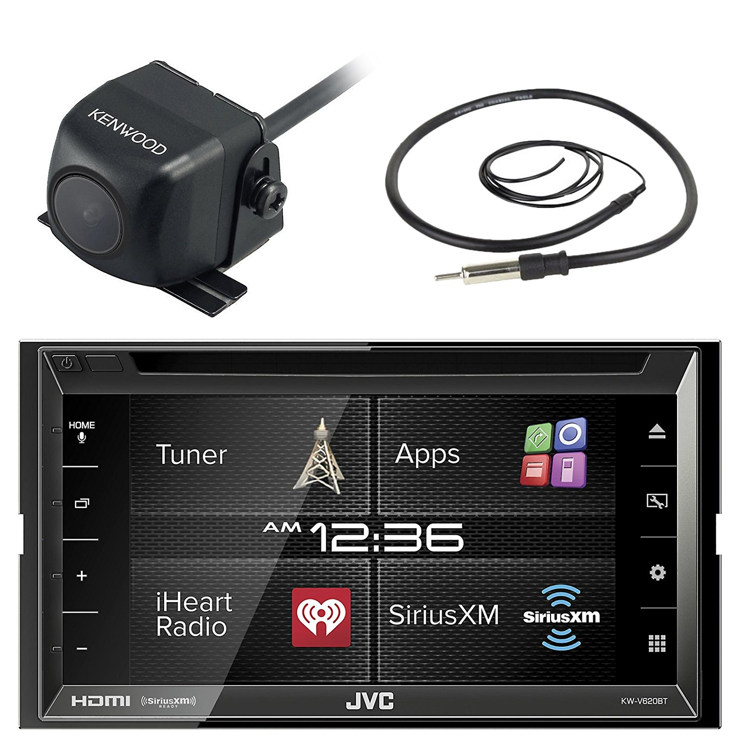 "JVC KW-V620BT 6.8"" Inch Double DIN Car CD DVD USB Bluetooth Stereo Receiver Bundle Combo With Kenwood CMOS-22P Universal Waterproof Rear-View Backup Parking Camera, Enrock 22"" AM/FM Radio Antenna"