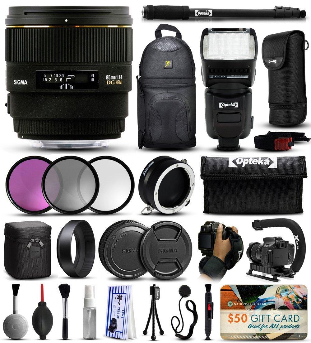 "Sigma 85mm F1.4 EX DG HSM Lens for Nikon (320306) with 3 Piece Filter Set (UV-CPL-FLD) + Stabilizer Handle + Sling Backpack + 67"" Monopod + Dual Lens Flipper + E-TTL Flash + Wrist Strap + More"