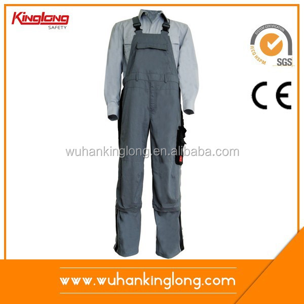 China Supplier Wholesale Worker Uniform Side Pockets Color Combination Bibpants