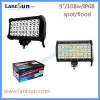 LED auxiliary lights 9inch 108w quad row waterproof IP68 one year warranty