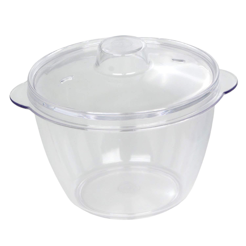 Dexam 3-Piece 0.2 Litre Polycarbonate and Plastic Multi-Purpose Mini Microwave Pot with 2 lids, Transparent