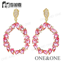 Factory Wholesale Latest Designs Gold Wedding Engagement CZ Stone Glass Earring