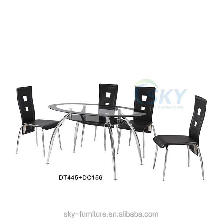 Oval Gl Table With Chrome Metal Legs Dining And Chairs Set Chair