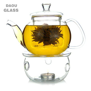 Heat Resistant Pyrex Glass Teapot Infuser With Candle Heating Warmer