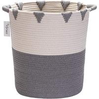 QJMAX Extra Large Baby Laundry Basket Collapsible Cotton Rope Woven Basket For Clothes And Toys