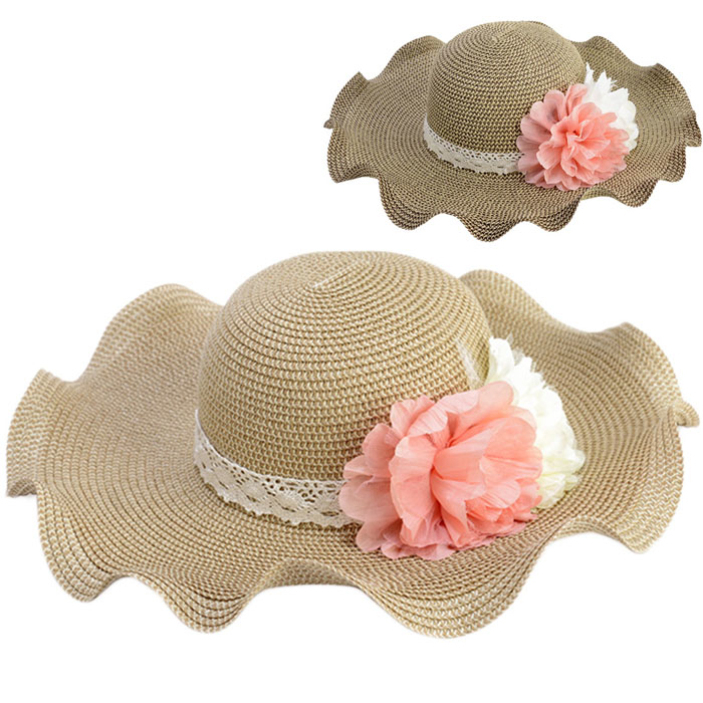 b7a14ff7ae430 Get Quotations · Splendid Summer Fashion Women Hawaii Tourism Large Brim Hat  Flower Wavy Edge Sun Hat Foldable Beach