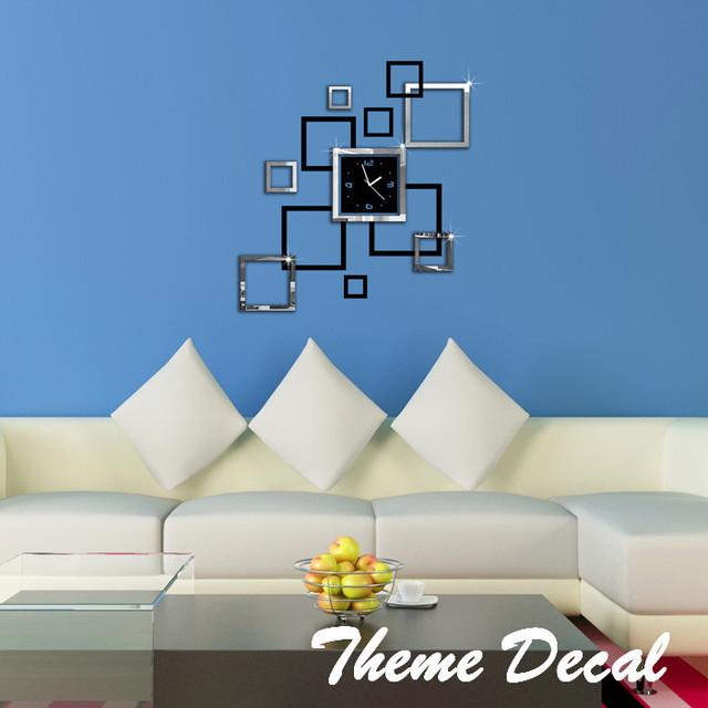effet miroir anneau horloge murale moderne design 3d. Black Bedroom Furniture Sets. Home Design Ideas