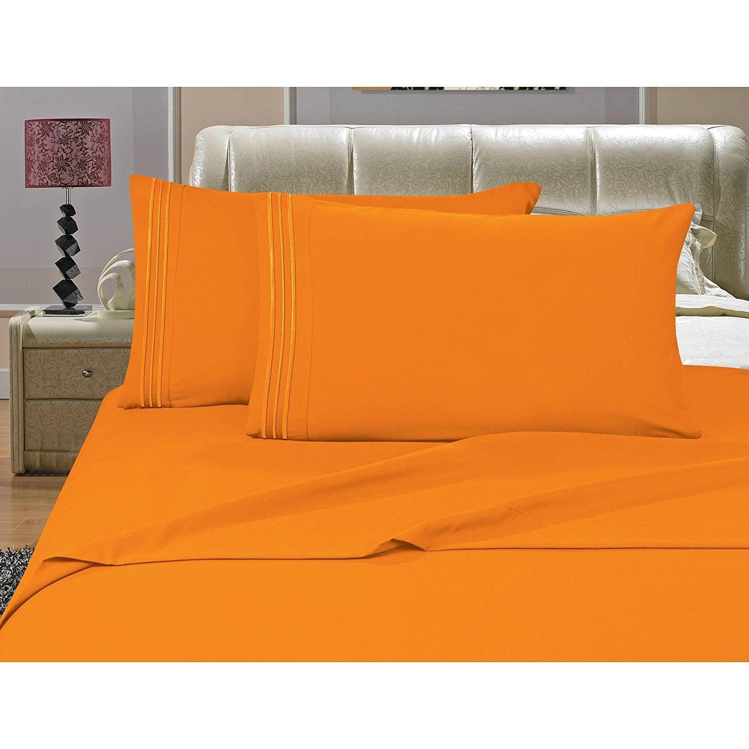 MISC 4pc Orange King Sheet Set, Deep Pocket Bedding Embroidered Stripe Comfortable Chic Elegant Solid Classic Breathable Soft Cozy Luxurious, Polyester, Microfiber